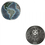 Happy Earth Day Geocoin - Antique Silver